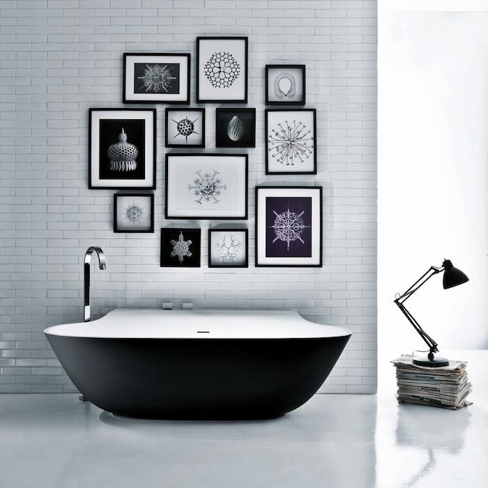 kleine schwarze freistehende badewanne - modernes badezimmer