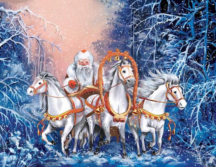drei weiße pferde - ein wald mit großen weißen bäumen und schneeflocken