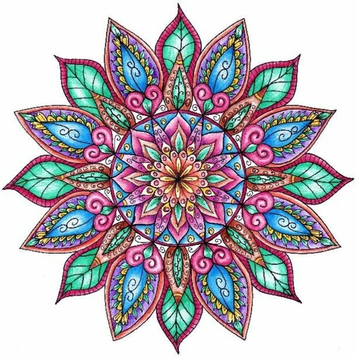 bunter Mandala-Muster mit vielen Blättern und Spiralen, mit einem großen Kreis und vielen kleinen Herzenmotiven