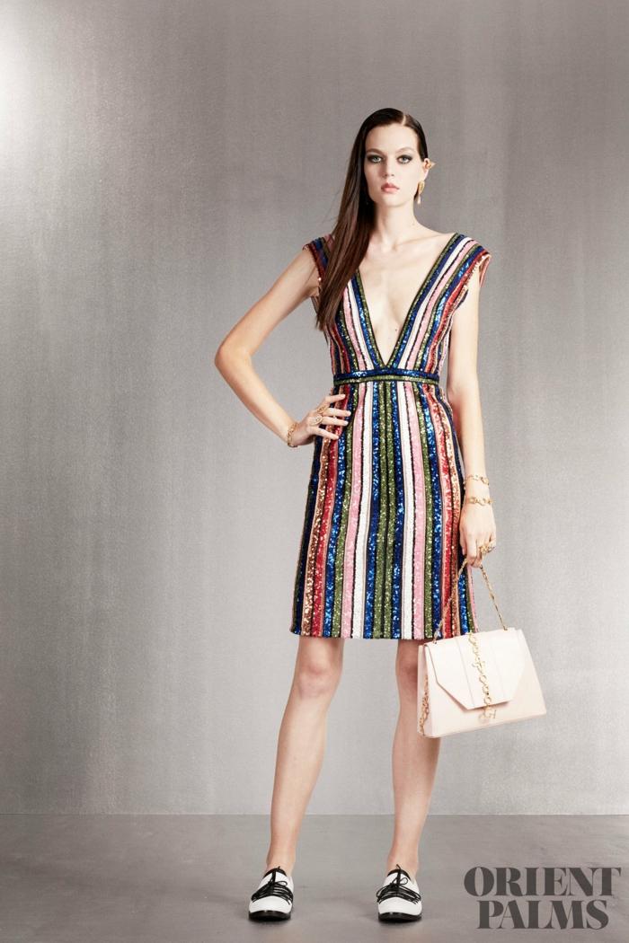 Buntes Glitzerkleid mit V-Ausschnitt, gestreiftes knielanges Cocktailkleid, Idee für Silvester Outfit