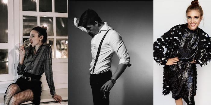 silvester outfit damen und herren in schwarz und weiß bohemian style look hosenträger cardigan mit glitzer wein trinken