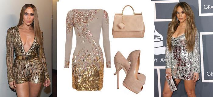 silvester outfit damen die wie j lo aussehen wollen kurzes goldenes kleid mit beigen schuhen und tasche