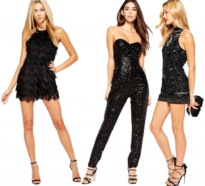 outfit weihnachten drei ideen für frauenlooks in schwarz kleine schwarze kleider oder jumpsuit