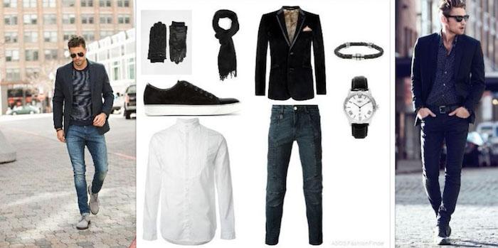 disco outfit mann mit stil elegant und einfach zum stylen idee jeans mit hemd und jacke oder blazer kombinieren