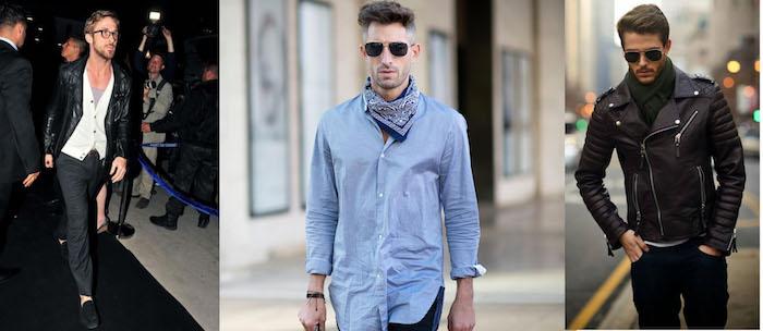 silvester outfit herren ideen lederjacke hemd kardigan blaues hemd mit schal kombinieren brille hose schuhe