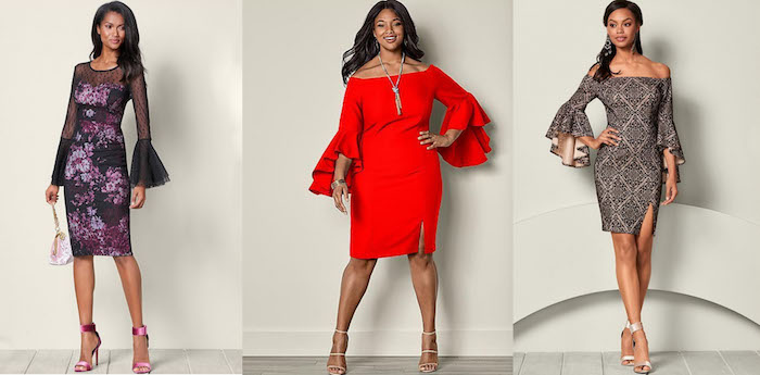 silvesteroutfit für damen in allen größen elegantes kleid in rot lila oder grau ideen breite ärmeln