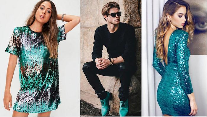 silvesteroutfit ideen für die beiden geschlechter türkis elemente an dem look partykleidung mann frauen