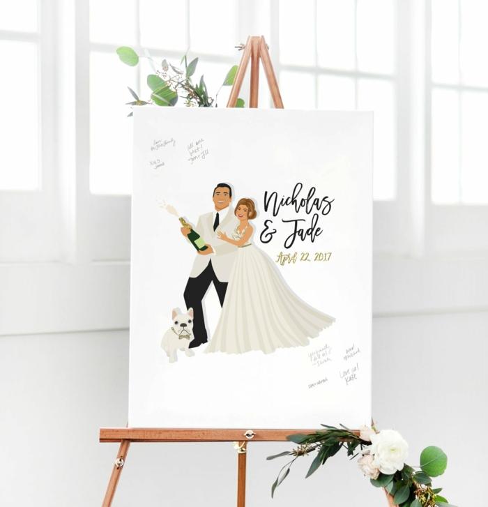 Leinwand als Hochzeitsgästebuch, den eigenen Namen und Glückwunsch aufschreiben, lustiges Bild