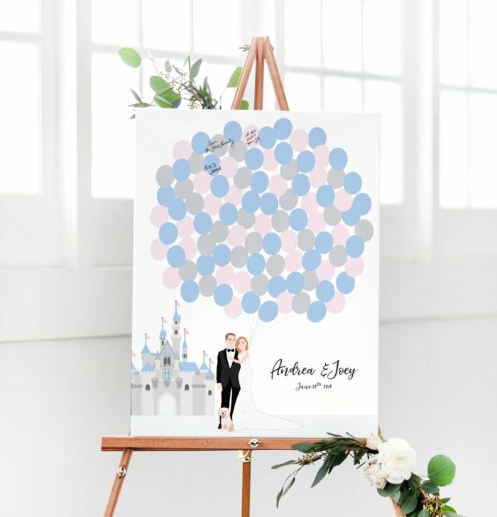 Gästebuch Hochzeit Idee, Leinwand zum Beschriften, romantisches Bild, Ehepaar mit vielen Luftballons