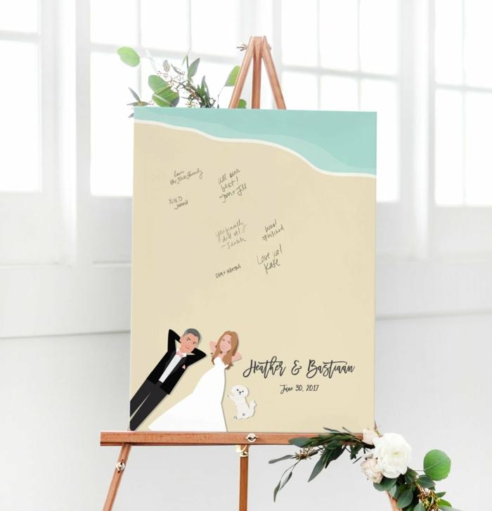 Coole Alternative zum klassischen Hochzeitsgästebuch, Leinwand zum Beschriften, Ehepaar und Hund am Strand