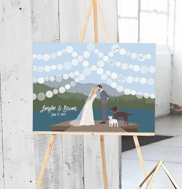 Leinwand zum Beschriften anstatt klassischen Hochzeitsgästebuches, romantisches Bild, Ehepaar im Gebirge