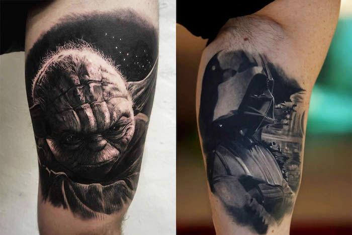 eine hand mit einem großen schwarzen tattoo mit einem schwarzen jedi joda und weißen sternen und einem schwarzen darth vader