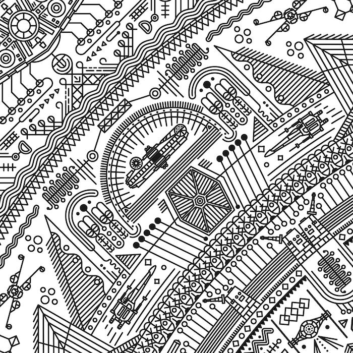 mandala tattoo mit vielen kleinen star wars motiven, maschinen und fliegenden star wars raumschiffen