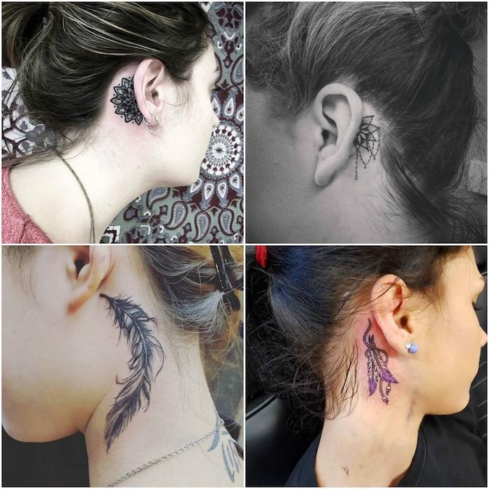 vier bilder mit vier jungen frauen mit tattoos mit schwarzen federn, einem mandala tattoo und schwarzen blumen