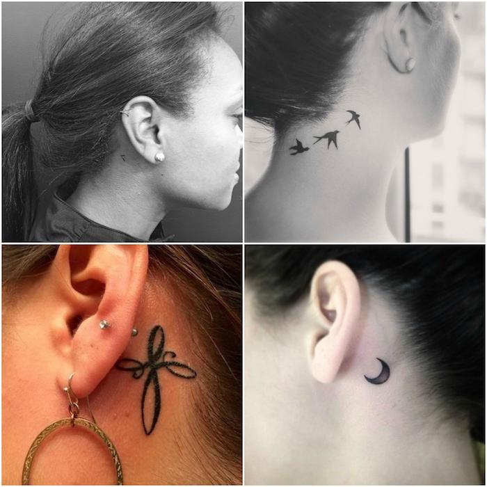 vier junge frauen mit kleinen ohrringen und kleinen schwarzen tattoos mit einem schwarzen halbmond und drei fliegenden schwarzen vögeln