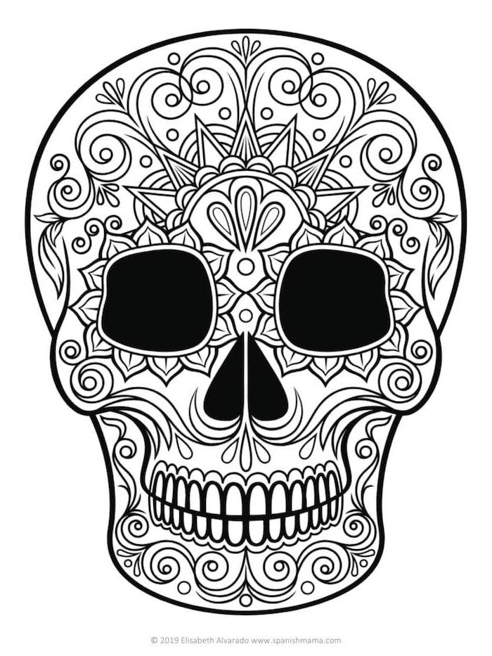 tattoo mexikanischer totenkopf vorlage mit geometrischen figuren tattoo zuckerschädel