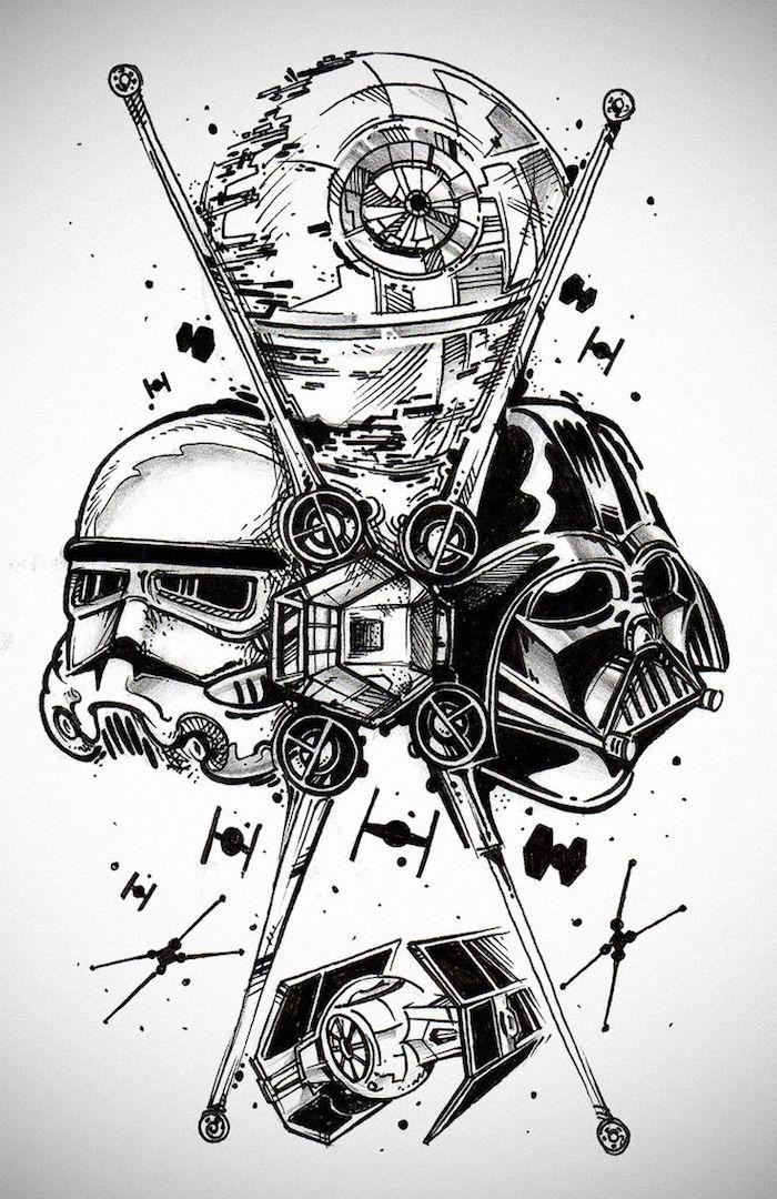 ein tattoo mit einem schwarzen darth vader, einem weißen klone, star wars robotern und fliegenden raumschiffen und sternen