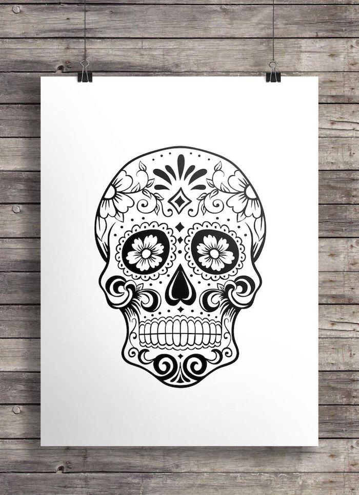 tattoo totenkopf mit blumen und geometrischen figuren mexikanisch la catrina