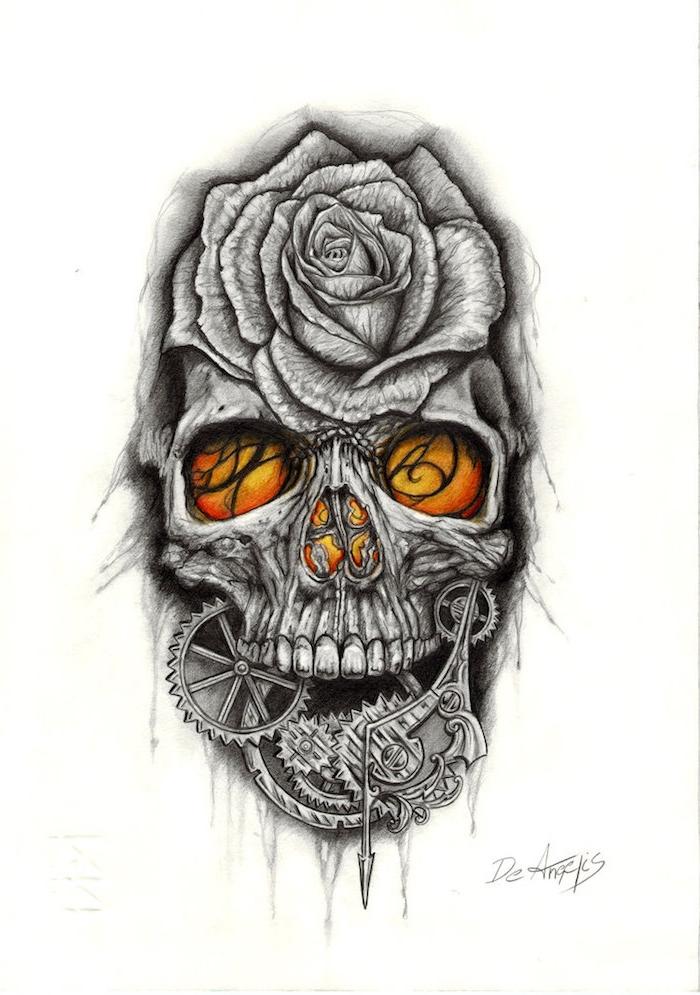 totenkopf mit rosen tattoo - ein grauer totenkopf mit orangen augen und einer grauen großen rose - eine skiyye mit einem tattoo