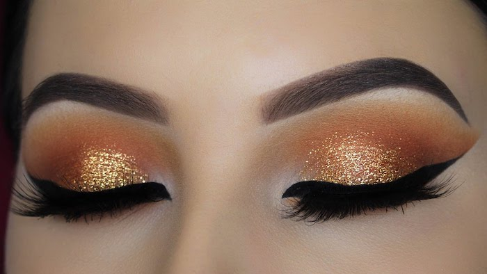 augen make up anleitung, silvester make-up in orange und gold, glitzer