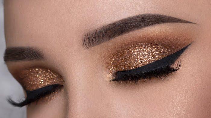 augen make up anleitung, silvester make-up mit goldenem glitzer