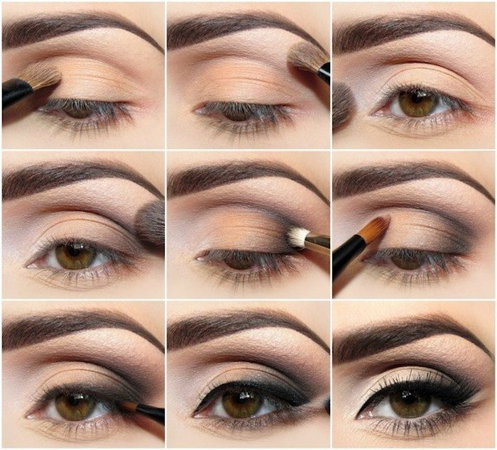 tiefliegende augen, abend make-up in schwarz und gold