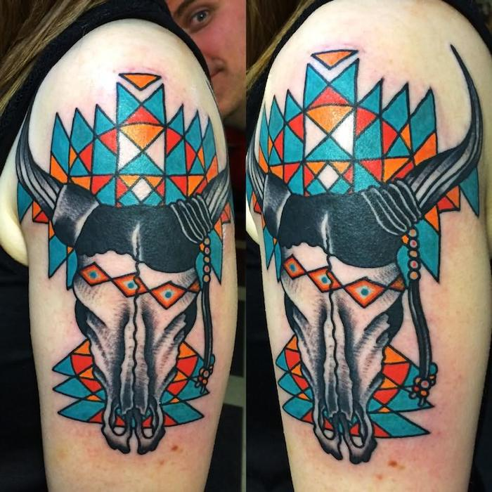 eine hand mit einem tattoo mit einem totenkopf eines tieres mit schwarzen hörnern