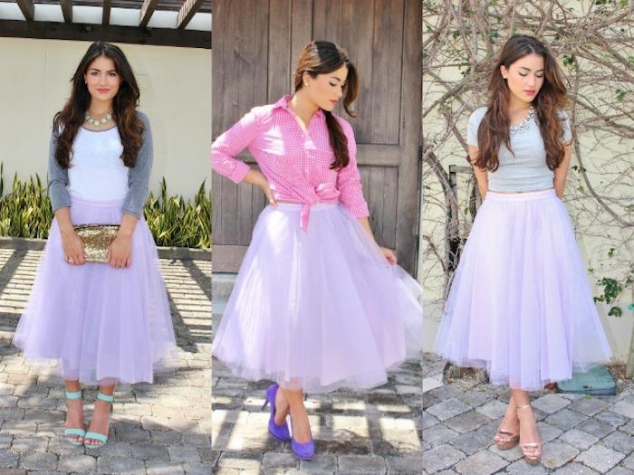 boho kleid lila rock goldene tasche lila schuhe oder mintgrüne absatzsandalen weiße bluse