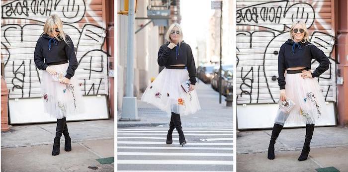 bohemian chic trendy ausgefallene looks im nächsten jahr schwarze stiefel und lederjacke mit rock aus feiner tülle