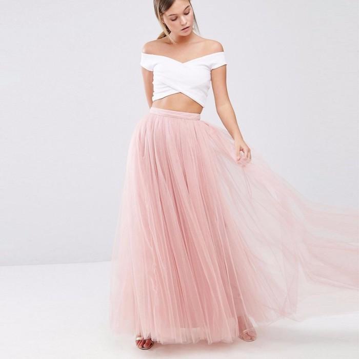 boho kleid lang eine idee: rosa bodenlanger rock mit weißem top fee oder frau feiner look