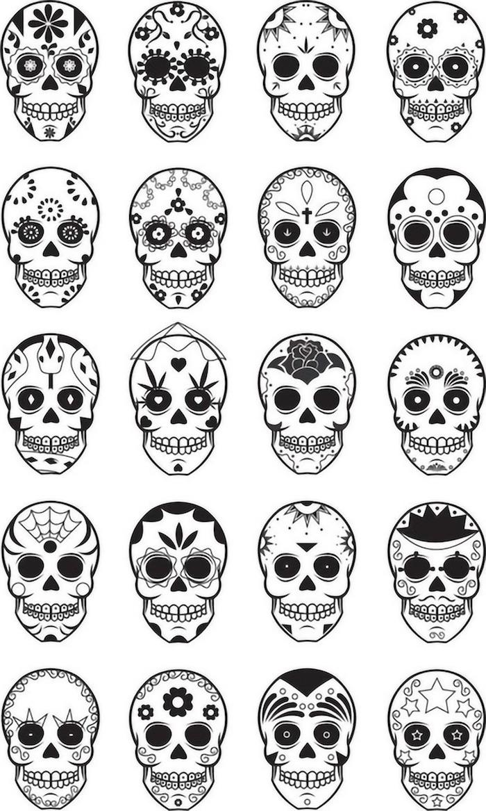 verschiedene ideen für mexikanische totenköpfe tattoo bedeutung mexikanische totenmaske