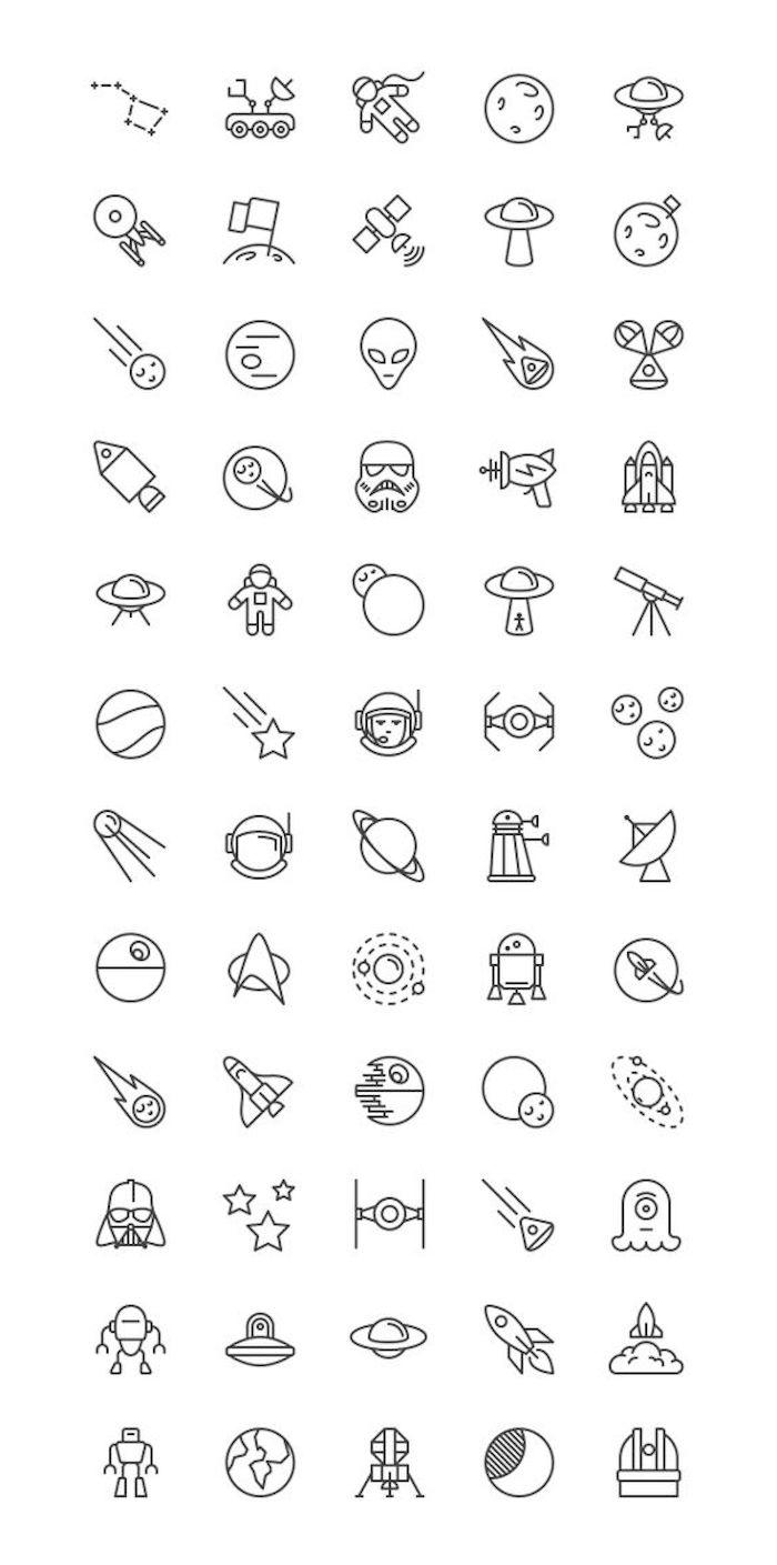 verschiedene ideen für kleine weiße star wars tattoos mit planeten, sonnen, robotern und einem darth vader