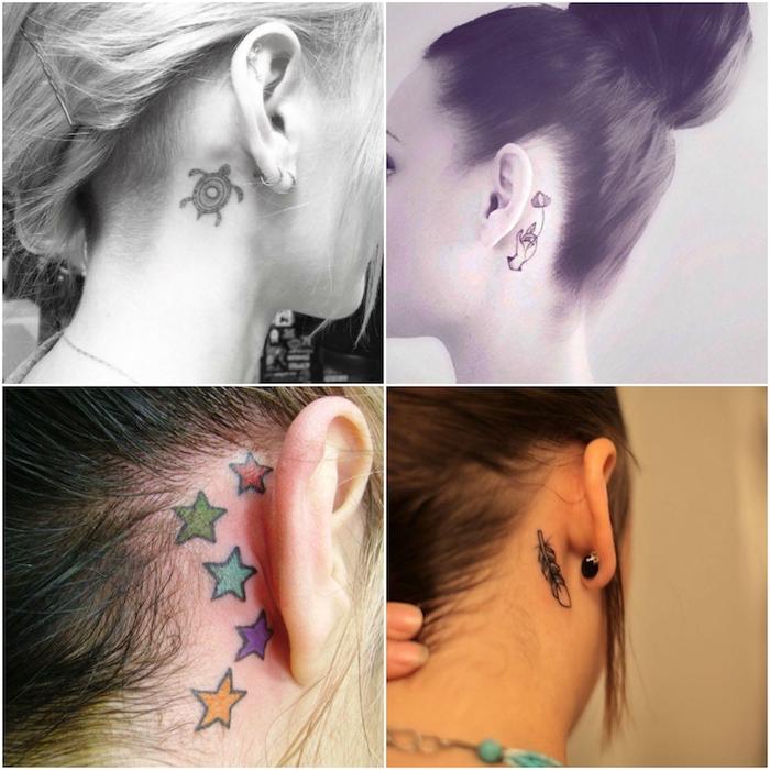 junge frauen mit tattoos mit schildkröte, bunten sternen und einem schwarzen feder - tattoo hinterm ohr