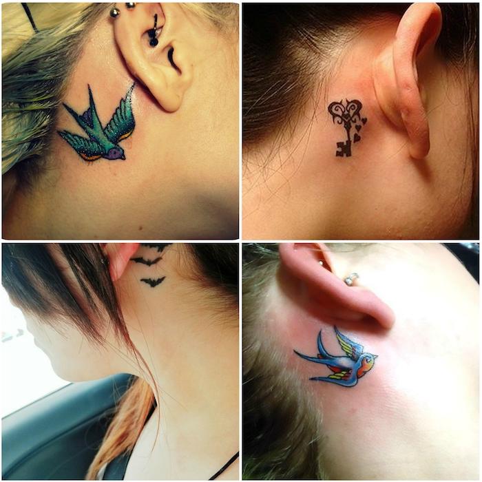 hinterm ohr tattoo - vier junge frauen mit tattoos mit kleinen fliegenden schwarzen fledermäusen, zwei fliegenden blauen vögeln, einem schwarzen schlüssel