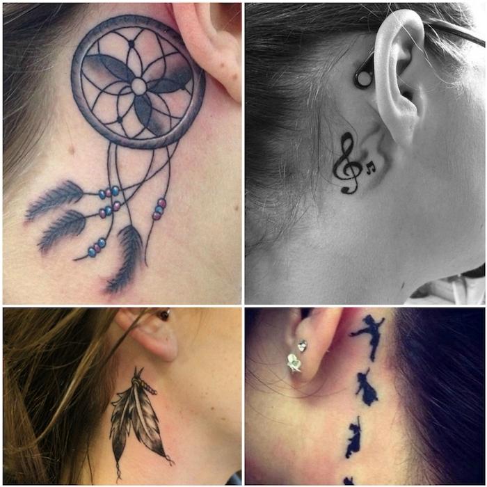 vier bilder mit jungen frauen mit schwarzen tattoos mit schwarzen noten, einem großen schwarzen traumfänger und schwarzen federn