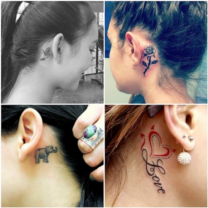 tattoo hinterm ohr - ver bilder mit vier jungen frauen mit tattoos mit kleinen schwarzen elefanten, einer schwarzen rose und einem roten herzen