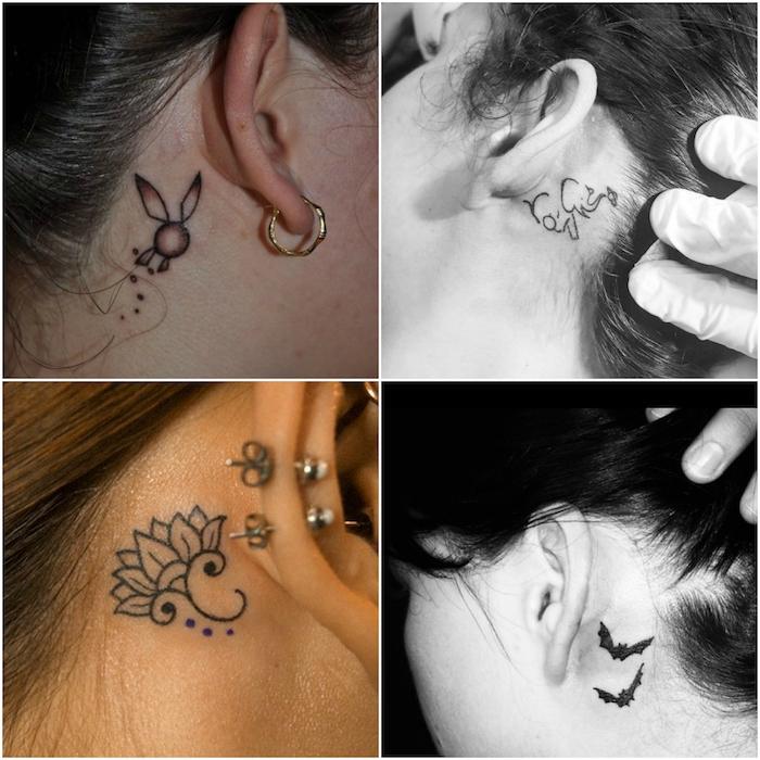 vier junge frauen mit schwarzen tattoos mit elefant, blumen, zwei fliegenden schwarzen fledermäusen