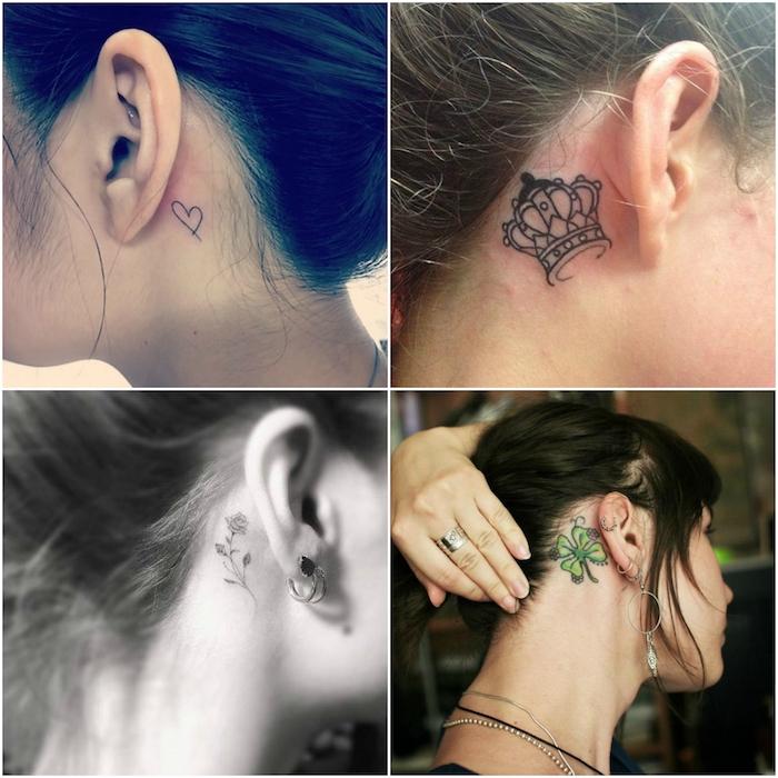 hier sind vier bilder mit vier jungen frauen mit schwarzen tattoos hinder ihren ohren - tattoos mit kleeblättern, einer krone, schwarzen blumen, einem kleinen herzen