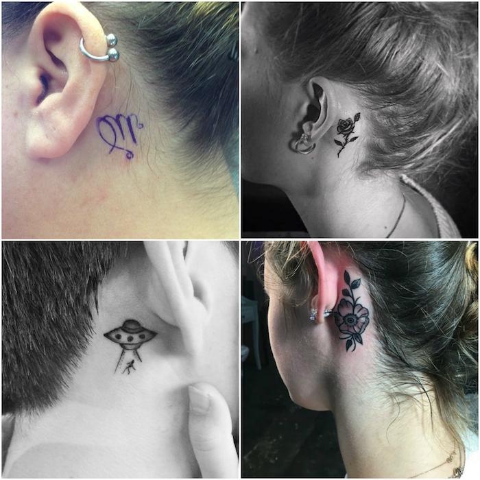 bilder mit vier jungen frauen mit winzigen tattoos hinter ihren ohren - tattoos mit einem schwarzen ufo, einer schwarzen rose und schwarzen blumen