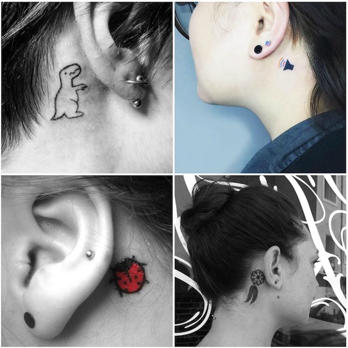 tattoo hinterm ohr - vier frauen mit kleinen tattoos mit Marienkäfer und einem schwarzen kleinen traumfänger mit zwei schwarzen federn und einem dinosaurier