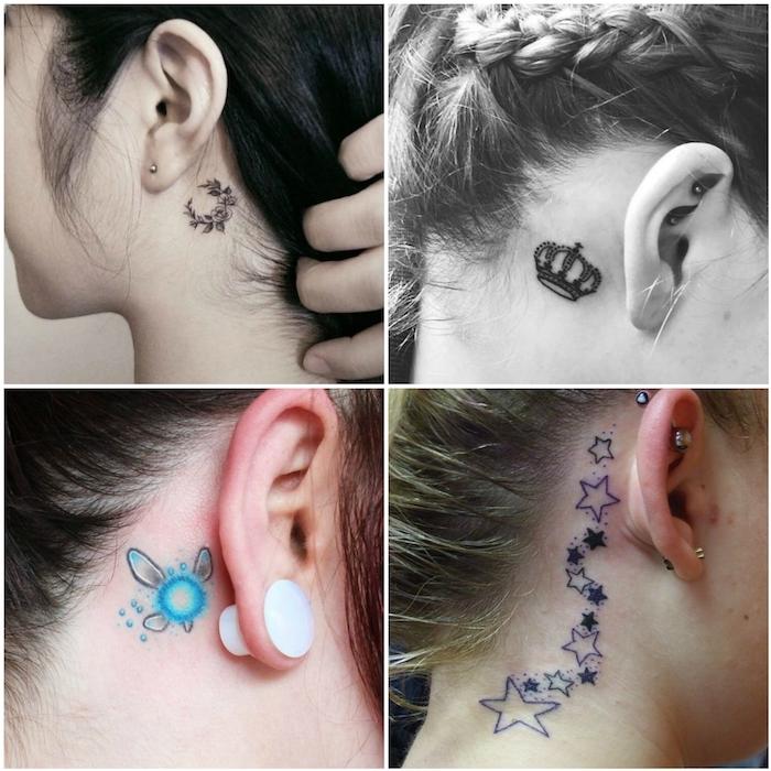 hinterm ohr tattoo - vier junge frauen mit kleinen tattoos mit sternen, einer krone und schwarzen blumen