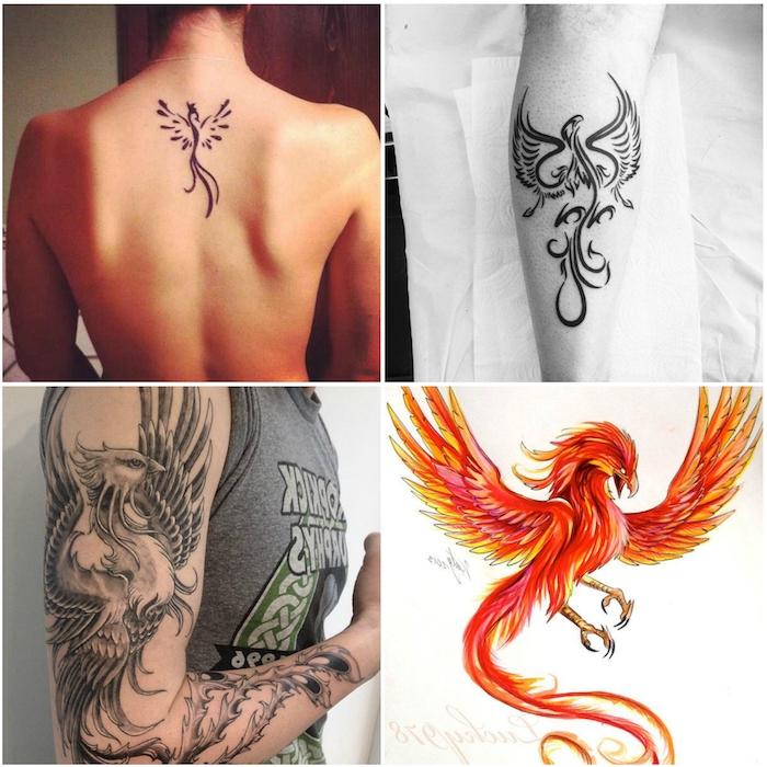 vier ideenn für phönix tattoos - eine frau mit einem kleinen schwarzen tattoo mit einem schwarzen fliegenden phönix mit schwarzen federn - ein roter fliegender großer phönix mit roten und gelben und orangen federn - ein mann mit einem schwarzen phönix tattoo