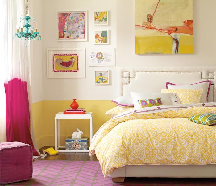 coole möbel einrichtungsideen gelb rosa lila wanddeko gestaltung wandbilder gelb orange zyklame