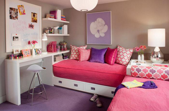 grau weißes zimmer mit lila und rosa akzente dekorationen im modernen kinderzimmer ideen zum nachmachen mädchenhaftes zimmer