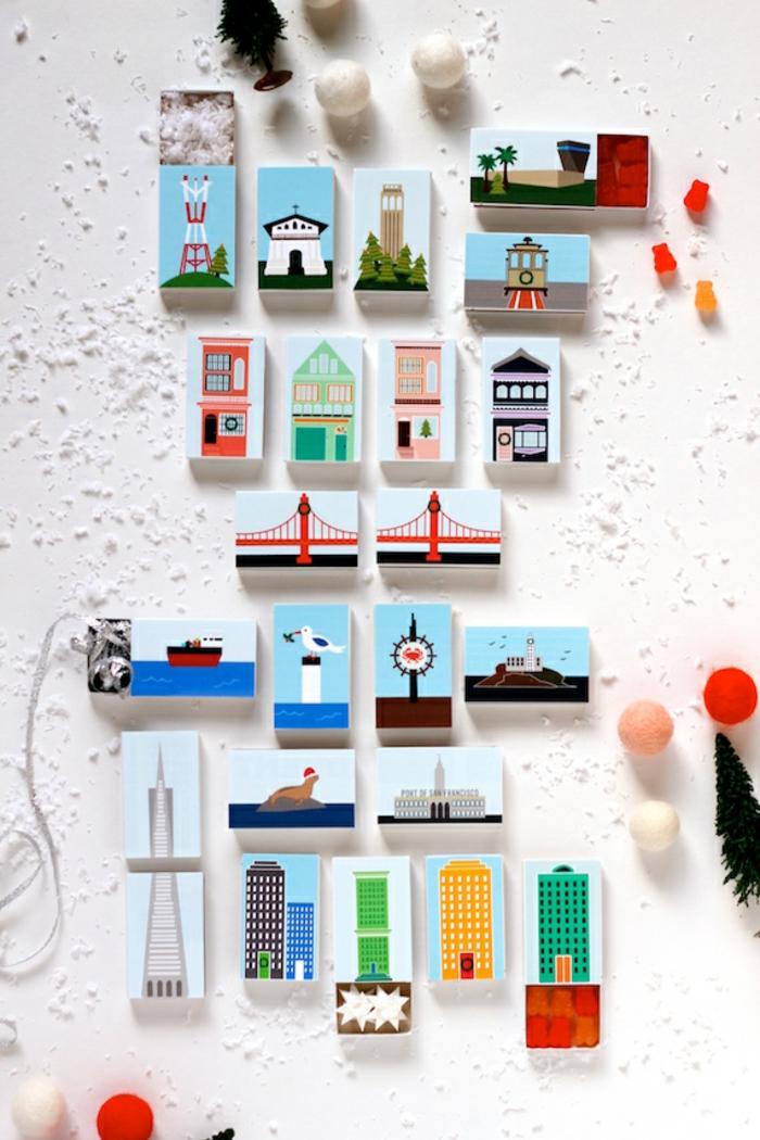 Tolle Idee für selbstgemachten Adventskalender, kleine Schachteln mit Sehenswürdigkeiten aus aller Welt