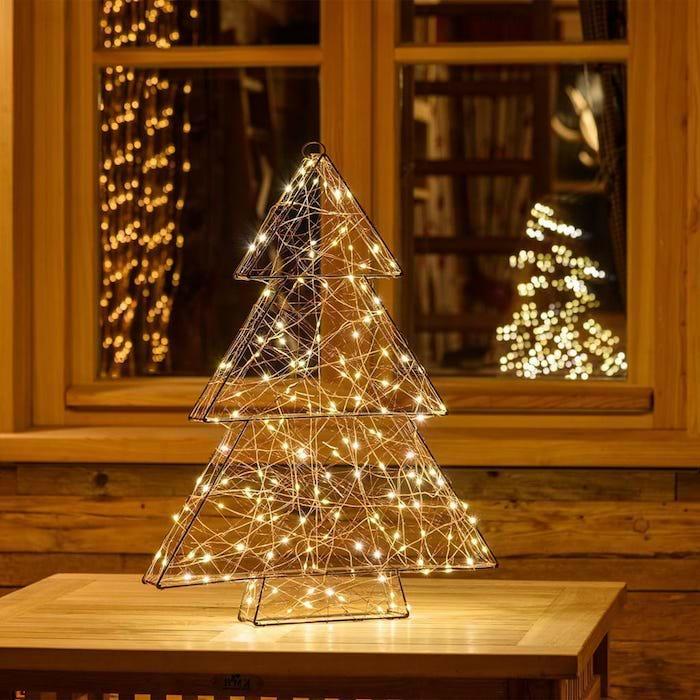 fenster beleuchtung deko lichter lichtkette weihnachtsbaum deko idee am fenster einrichten