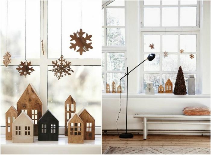 zwei Bilder von Weihnachtsdekorationen aus Karton - Häuser aus Karton, Schneeflocken-Firlande aus Karton, kleiner grüner Weihnachtsbaume ohne Weihnachtsdeko, Haus mit Schrägdach, schwarze Stehlampe mit beweiglichem Stand, Sitzbank mit weißen Beinen und weißer Sitzfläche, branes Sitzkisse auf der weißen Couch, Musterteppich in heelenfarben auf dem Holzboden