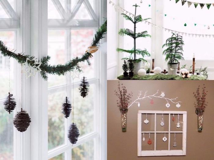 fenster beleuchtung oder dekoration zapfen am fenster hängen tannenbaum in topf künstliches fenster