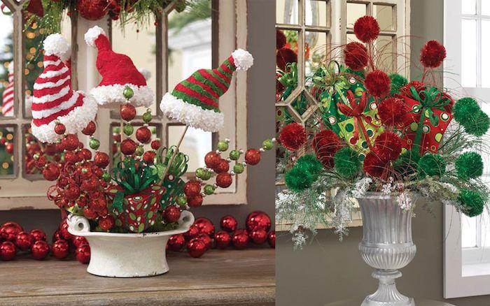 Gestecke selber machen - zwei Beispiele für Dekoration mit Blumen, Geschenkpapier und Weihnachtskugeln
