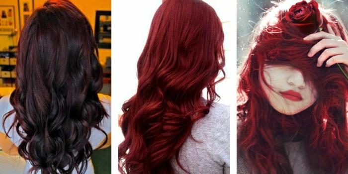 Welche Haarfarbe steht passt zu mir? braune lockige Haare auf Bild Nr. 1, rotbraune gewellte Haare mit Glanz auf Bild Nr. 2, dunkelrote Haare auf Bild Nr. 3, Mädchen mit roten Haaren und einer roten Rose in der Hand, mit vollen roten Lippen und ovalem blaßen Gesicht